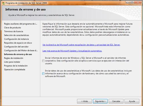 Como instalar SQL Server 2008. Opciones de informes