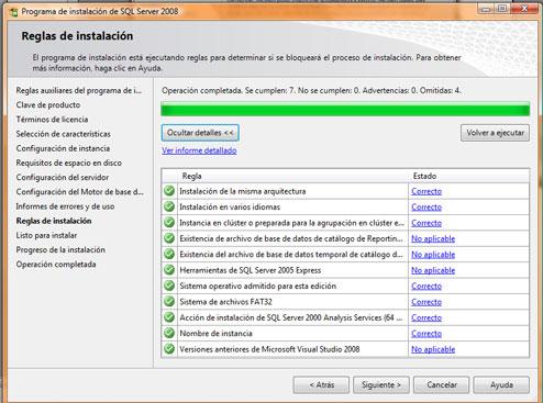 Como instalar SQL Server 2008. Resumen de instalación