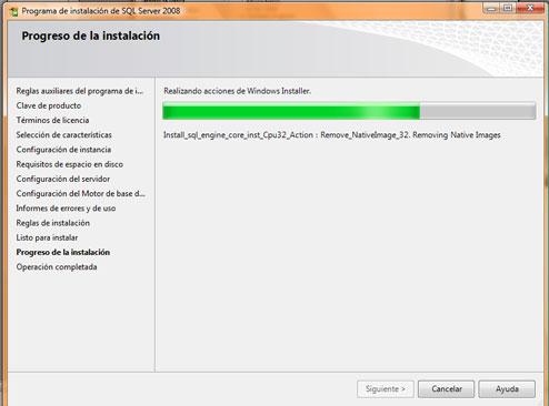 Como instalar SQL Server 2008. Progreso de instalación