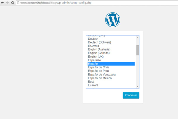 Instalación WordPress - Selección de Idioma