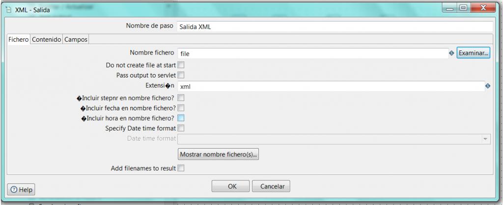 Pentaho - Salida XML